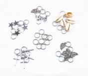 yueton 35pcs Silver Ring Shell Hands Cross Leaves Star Pendant Rings Set Hair Clip Headband Hair Accessories