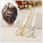 IFfree 6PCS (3pc gold 3pc silver) Girls Cute Fashion Scissors shape Hair Clip Hair Accessories Headpiece