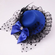 Polytree Women's Lace Feather Mini Top Hat Veil Fascinators Bow Hair Clip - Navy Blue