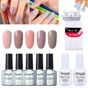 UV LED 5 Colours Gel Nail Polish + Base Top + 50Remover Wrap + 5French Sticker Soak Off Manicure Decor Kit Nail Art Gift Nude Series DIY 10ml 015