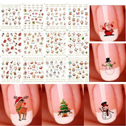 Bhbuy Christmas 3D Nail Art Stickers Snowflakes Cute Snowmen Nail Decals