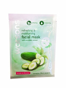 4 Mask sheets of Watsons Refreshing & Moisturising Facial Mask with Cucumber Extract. Made in Korea.