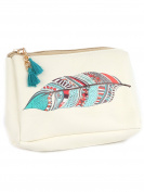 Boho Feather Print Cosmetic Makeup Bag or Pouch Wallet