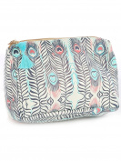 Multi Feathers Print Cosmetic Makeup Bag or Pouch Wallet Feather