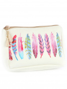 Colourful Feathers Cosmetic Makeup Bag or Pouch Wallet Feather Print