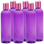MoYo Natural Labs Purple and Pretty Pink 120ml Travel Bottle Set BPA Free Refillable 120ml bottle Refillable Container Made in USA Purple with Shimmering Pink Disc Cap Pack of 6
