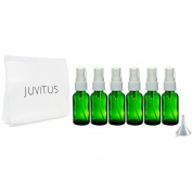 Green Glass Boston Round White Fine Mist Spray Bottle - 30ml (6 Pack) + Clear Travel Bag and Funnel