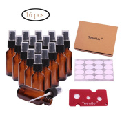 30ml Essential Oil Sprays, Teenitor 30ml Amber Glass Bottles Pack of 16 for Essential Oil Blends and Essential Oil Sprays, Comes With Sticker & Swiss Key.