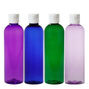 MoYo Natural Labs Psychedelic Trio 120ml Travel Bottle Set BPA Free Refillable 120ml bottle Refillable Container Made in USA Violet Green Blue Purple with White Flip Top Not Leak Caps Pack of 4