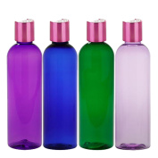 MoYo Natural Labs Purple and Pretty Pink 120ml Travel Bottle Set BPA Free Refillable 120ml bottle Refillable Container Made in USA Purple with Shimmering Pink Disc Cap Pack of 4