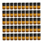 Toolcool 50Pcs 2ml Amber Dram Glass Essential Oil Bottle Orifice Reducer with Cap