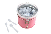 Mini Cosmetic Spatulas -150 (6.4cm ) Disposable Pieces - In Pink Hermetic Jar, Refillable Container - By Skinfant