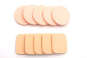 Beauty Makeup Facial Powder Puff Round Sponges 5 ,Square sponge 5