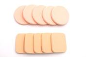 Beauty Makeup Facial Powder Puff Round Sponges 5 ,Square sponge 5