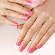 ArtPlus 24pcs Camelia Pink False Nails Set French Manicure Full Cover Medium Length with Glue