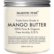 Majestic Pure Mango Butter, Raw & Organic Premium Grade for Soft Supple Skin and Healthy Hair, 240ml