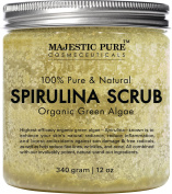 Spirulina Body Scrub from Majestic Pure, Natural Skin Care with Vitamin E and Dead Sea Salt, Fights Acne, Softens and Cleanses Skin, 350ml
