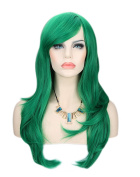 Kalyss® Women's Green Colour Long Straight Cospaly Party Full Hair Wigs
