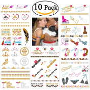 NUOLUX Bachelorette Party Tattoos Removable Metallic Bachelorette Tattoos - 10 sheet
