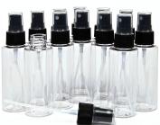 Vivaplex, 12, Clear, 60ml, Plastic Bottles, with Black Fine Mist Sprayers