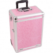 SUNRISE Professional Makeup Case on Wheels E6303, Aluminium Cosmetic Organiser, 3 Drawers, Locking with Mirror, Pink Crocodile