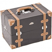 SUNRISE Makeup Case C3019 Artist Cosmetic Organiser, 4 Trays, Adjustable Dividers, Locking with Shoulder Strap, Black Square