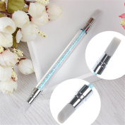 NICOLE DIARY 2-Ways Carving Sculpture Painting Brush Pen Silicone Hollow Crystal Handle Nail Art Manicure Tool