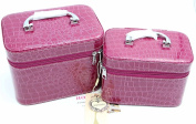 HOYOFO 2-Piece Stone Texture Cosmetic Train Case Set Large Makeup Bags with Mirror,Purple