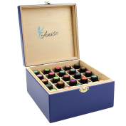 Wooden Essential Oil Box Carrying Case For 25 Bottles Of 5 10 15ml By Anise, Storage Container Small Enough For Travel and Presentations