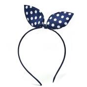 1pcs Dots Rabbit Ear Headwear Hairband Hair Band Navy