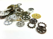 50g Mixed Steampunk Gears and Cogs- Assorted Colour, Shapes, Sizes- Lead Free- Jewellery Making, Crafts, Clothing