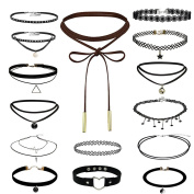 Paxcoo 15 Pcs Choker Necklace for Women Girls, Black Classic Velvet Stretch Gothic Tattoo Lace
