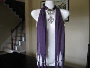Purple Fashion Jewellery Scarf w Jewellery Decoration Fleur De Lis Necklace Pendant