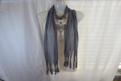 Grey Fashion Jewellery Scarf w Decoration Butterfly Necklace Pendant