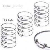 Yumei Jewellery Adjustable Wire Blank Bangle Bracelet for Womens DIY Jewellery Making,6.6cm ,Pack of 15