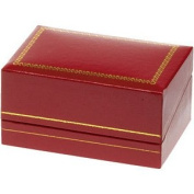 Enduring Classics Red Leatherette Double Ring Box With Gold Accents