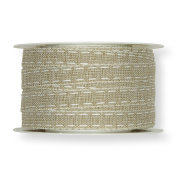 FloristryWarehouse Natural 1.3cm Fabric Ribbon with White Linen Lockstitch Design x 10m Roll