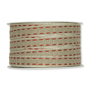 FloristryWarehouse Natural 1.3cm Fabric Ribbon with Red Linen Lockstitch Design x 10m Roll