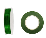 1.3cm Floral Tape, Self-Sealing, Dark Green. With Green Paddle Wire 21-Gauge