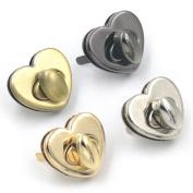 Bluemoona 2 Sets- Turnlock Latch Closure Heart Love Shaped Craft 4 Catch Tuck Purse Bag Handbag Light Gold