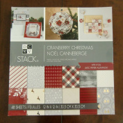 DCWV CRANBERRY CHRISTMAS STACK 48 Scrapbook Sheets 12 x 12 Printed Cardstock