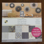DCWV GILDED GREY STACK 48 Scrapbook Sheets 12 x 12 Printed Cardstock