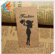 100pcs Luggage Kraft paper tags Hangbag Clothing Price Tags 4X8cm Promotion hang tags+20M string