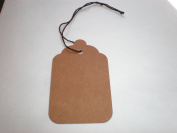50 Size 8 Kraft Merchandise Tags with Knotted Brown Twisted String