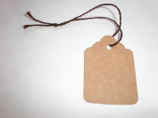 50 Size 6 Kraft Merchandise Tags with Knotted Brown Twisted String