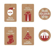 Astra shop Pack of 60pcs Christmas Series Kraft Paper Gift Tags with 10 Metres Jute Twine for Gift Wrapping Packaging