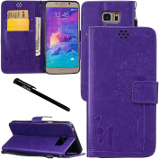Galaxy Note 5 Case, Urvoix Credit Card Holder Leather Cover Embossed Romantic Dandelion Folio Case for Samsung Galaxy Note5 N920, Purple