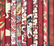 10 Red Asian Japanese Fat Quarter Fabric Bundle