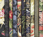 10 Black Asian Japanese Fat Quarter Fabric Bundle