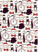 Retro Gentleman Rolled Gift Wrap Paper 2 Full Sheets 70cm x 100cm